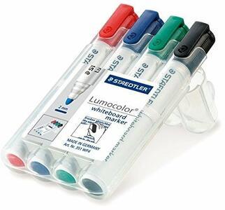 Lavagna Staedtler Lumocolor whiteboard marker. Con 4 marcatori cancellabili colori assortiti