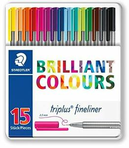 Pennarelli Fineliner Staedtler Brilliant Colours. Confezione 15 colori assortiti