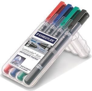 Pennarelli permanenti Staedtler Lumocolor Duo. Confezione 4 colori assortiti