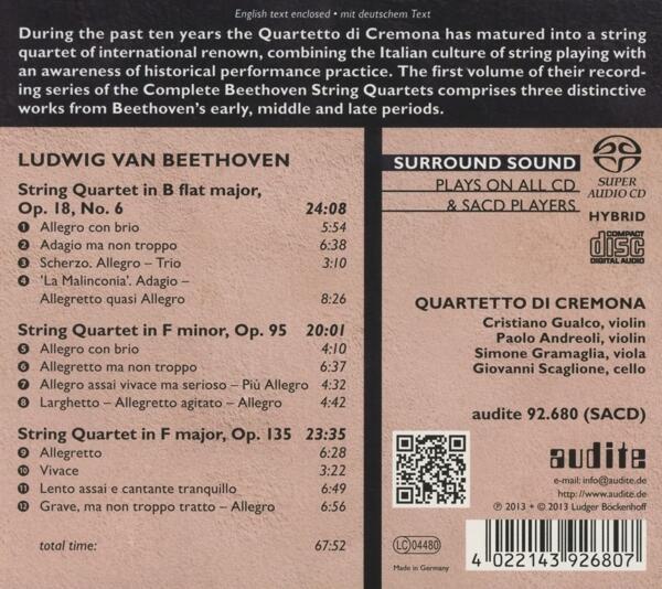 Quartetti per archi vol 1 ludwig van beethoven cd ibs for Compositore tedesco della musica da tavola
