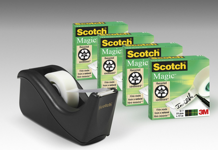 Cartoleria 3M Post-it. Dispenser Scotch C60 Nero + 4 Rotoli Di Nastro Adesivo Scotch Magic 810 19mmx33m Scotch
