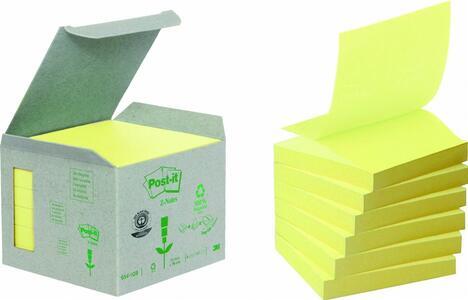 3M Post-it. Box Da 6 Blocchetti Di Foglietti Post-it Z-notes 76x76mm In Carta Riciclata Colore Giallo