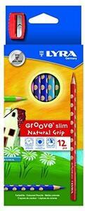 Pastelli Lyra Groove Slim. Scatola 12 matite colorate assortite + temperino