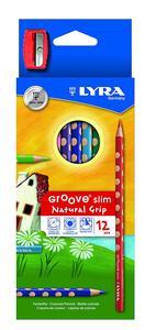 Pastelli Lyra Groove Slim. Scatola 12 matite colorate assortite + temperino - 6