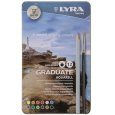 Cartoleria Pastelli acquarellabili Lyra Graduate Aquarell. Scatola in metallo 12 colori assortiti Lyra