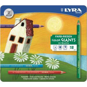 Pastelli Lyra Color Giants. Scatola in metallo 18 matite colorate assortite