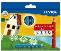 Cartoleria Pastelli Lyra Groove TripleOne. Scatola 12 matite colorate assortite Lyra