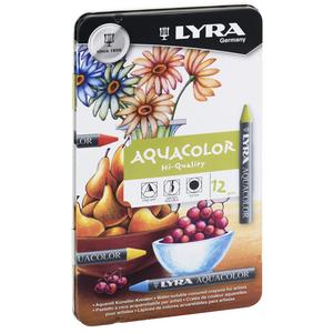 Cartoleria Pastelli a cera acquerellabile Lyra Acquacolor. Scatola in metallo 12 colori assortiti Lyra 0