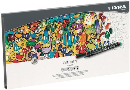 Pennarelli Lyra Hi-Quality Art Pen. Scatola in metallo 50 colori assortiti