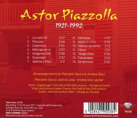 La Calle 92. Brani per violino e chitarra - CD Audio di Astor Piazzolla,Andrea Dieci - 2