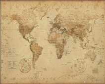 Idee regalo Poster World Map. Antique Style 40x50 cm. GB Eye