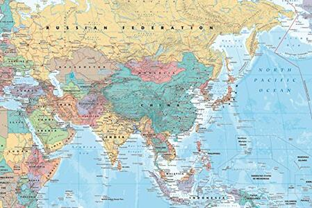 Poster Asia & Middle East. Map 61x91,5 cm.