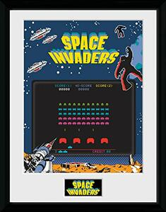 Stampa In Cornice 30x40 cm. Space Invaders. Screen