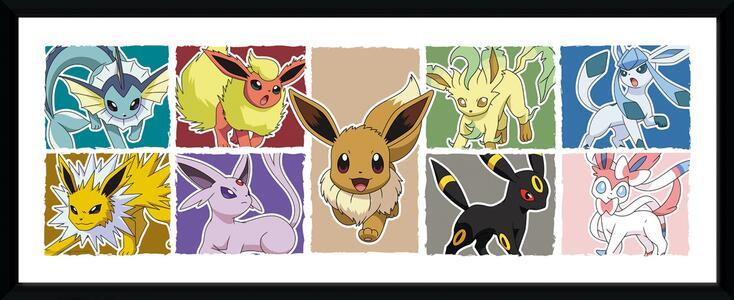Stampa In Cornice 75x30 cm. Pokemon. Eevee Evolution