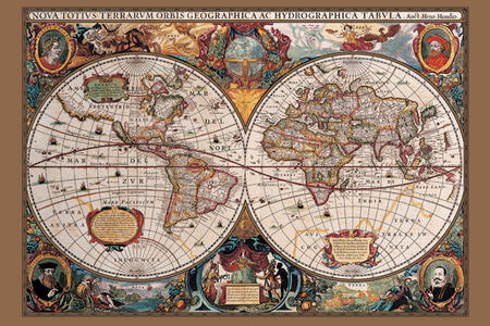 Poster 17Th Century World Map. Gold Ink