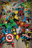 Idee regalo Poster Marvel Comics. Here Come The Heroes Pyramid