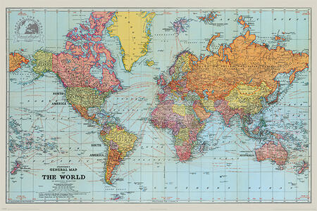 Poster Maxi 61X91,5 Cm Stanfords General Map Of The World Colour