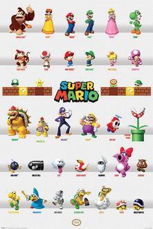 Poster 61X91,5 Cm Nintendo. Super Mario. Character Parade