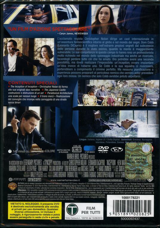 Inception di Christopher Nolan - DVD - 2