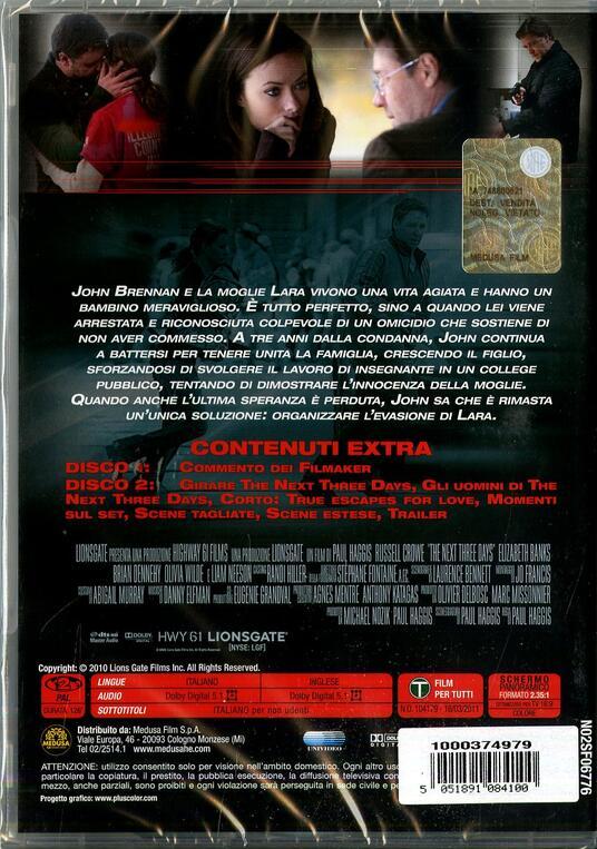 The Next Three Days (2 DVD)<span>.</span> Edizione speciale di Paul Haggis - DVD - 2