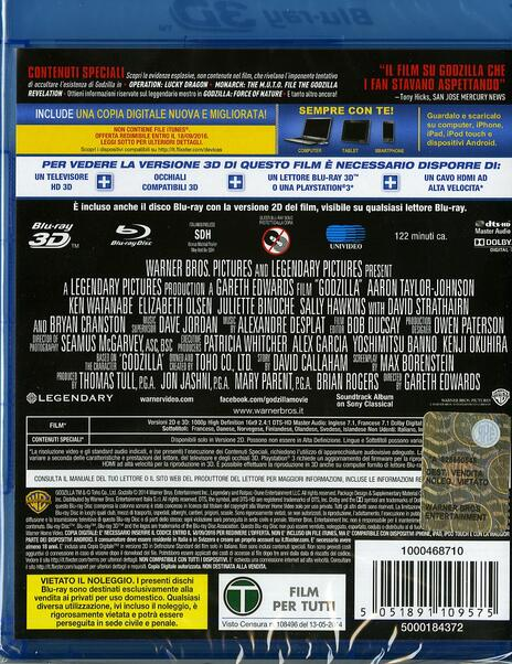 Godzilla 3D (Blu-ray + Blu-ray 3D)<span>.</span> versione 3D di Gareth Edwards - Blu-ray + Blu-ray 3D - 2