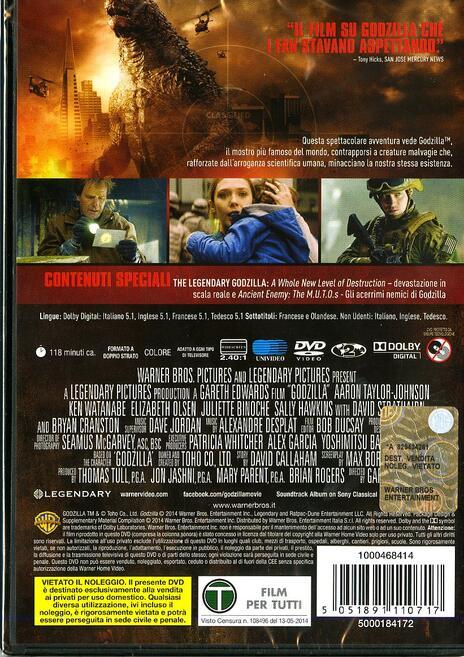 Godzilla di Gareth Edwards - DVD - 2