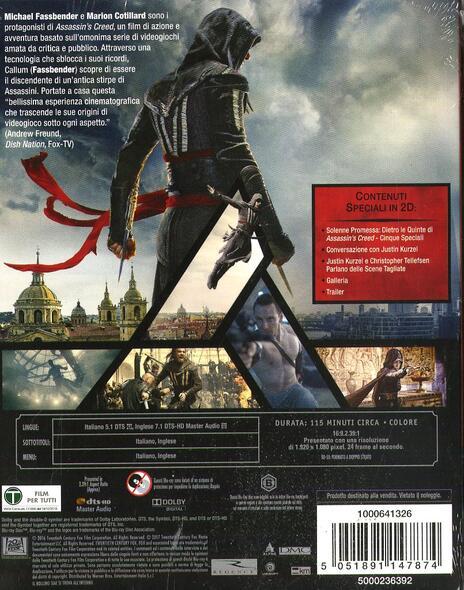 Assassin's Creed (Blu-ray + Blu-ray 3D) di Justin Kurzel - Blu-ray + Blu-ray 3D - 10