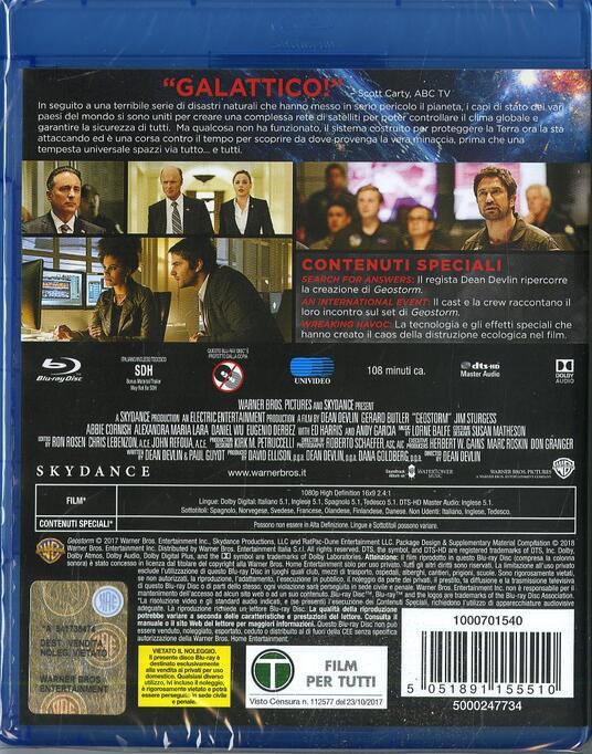 Geostorm (Blu-ray) di Dean Devlin - Blu-ray - 2