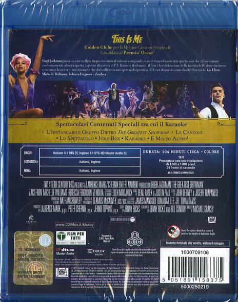 The Greatest Showman (Blu-ray) di Michael Gracey - Blu-ray - 2