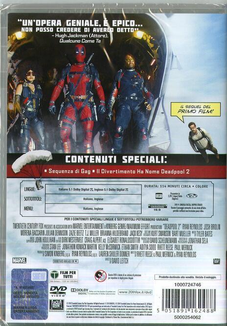 Deadpool 2 (DVD) di David Leitch - DVD - 2