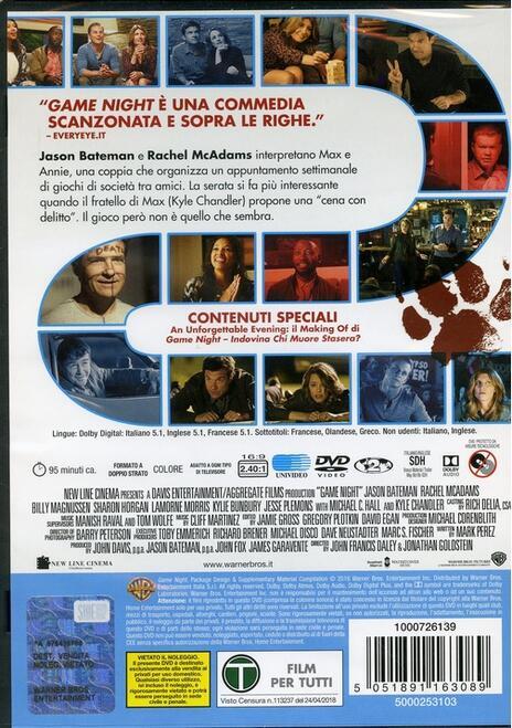 Game Night. Indovina chi muore stasera? (DVD) di John Francis Daley,Jonathan Goldstein - DVD - 2