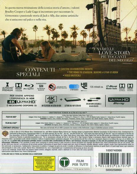 A Star Is Born (Blu-ray + Blu-ray Ultra HD 4K) di Bradley Cooper - Blu-ray + Blu-ray Ultra HD 4K - 2