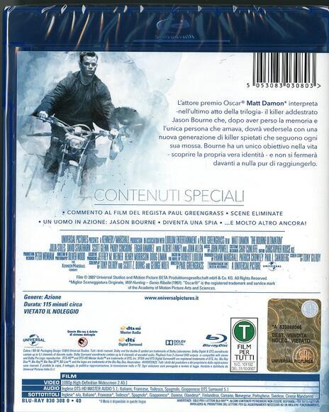 The Bourne Ultimatum. Il ritorno dello sciacallo di Paul Greengrass - Blu-ray - 2