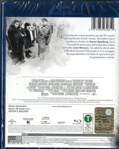 Schindler's List di Steven Spielberg - Blu-ray - 2
