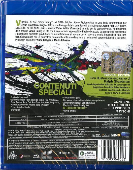 Breaking Bad. Stagione 3 (3 Blu-ray) di Bryan Cranston,Adam Bernstein,Michelle MacLaren - Blu-ray - 2