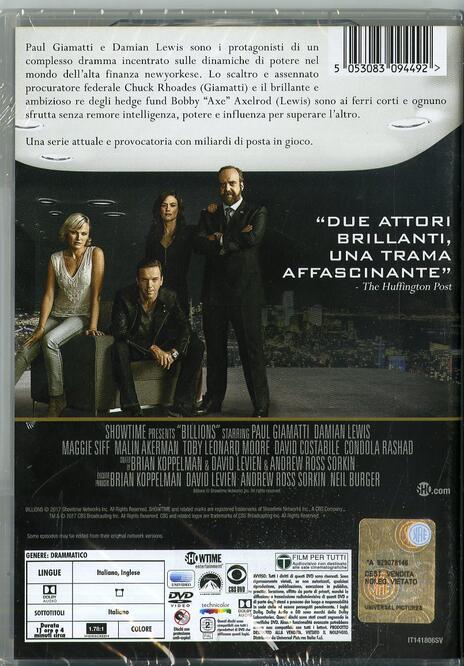 Billions. Stagione 1 (4 DVD) di Anna Boden,Ryan Fleck,Neil Burger - DVD - 2