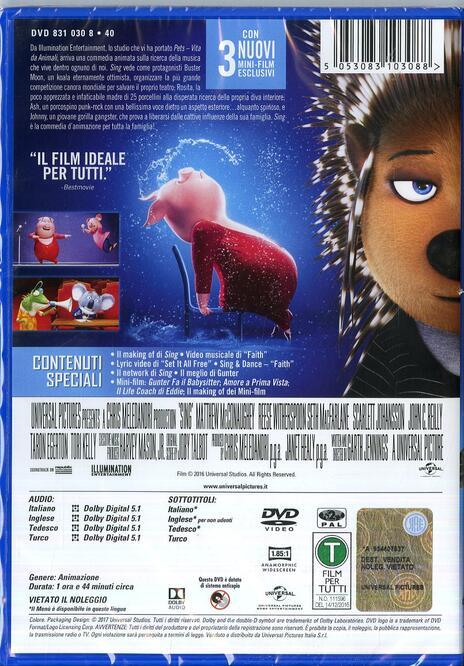 Sing (DVD) di Christophe Lourdelet,Garth Jennings  - DVD - 2
