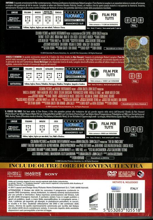 Robert Langdon Trilogy (3 DVD) di Ron Howard - 2