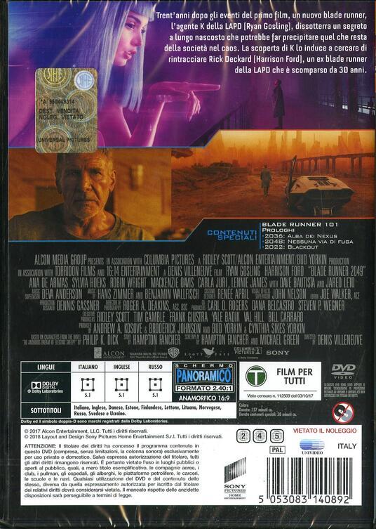 Blade Runner 2049 (DVD) di Denis Villeneuve - DVD - 2
