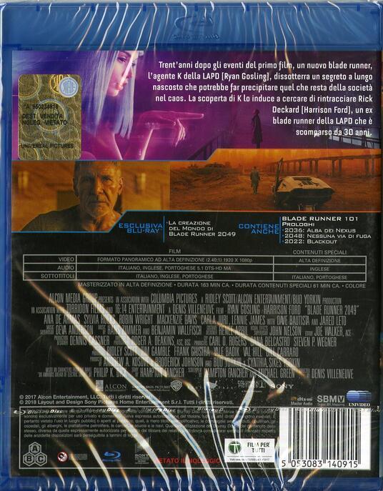 Blade Runner 2049 (Blu-ray) di Denis Villeneuve - Blu-ray - 2