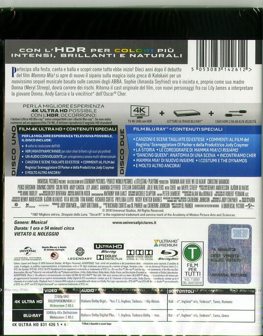 Mamma Mia! Ci Risiamo (Blu-ray + Blu-ray 4K Ultra HD) di Oliver Parker - Blu-ray + Blu-ray Ultra HD 4K - 2