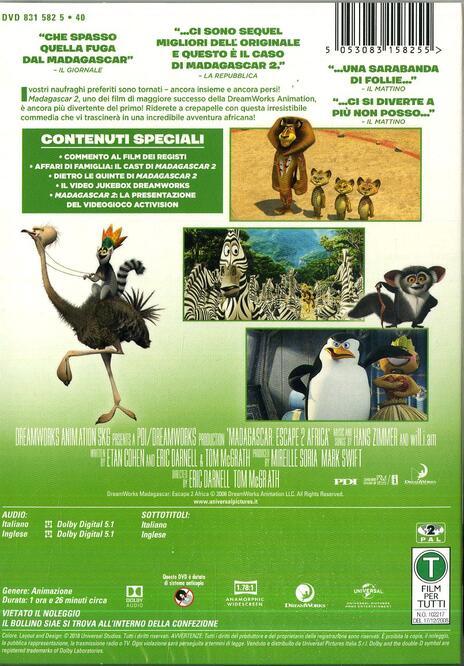 Madagascar 2 (DVD) di Tom McGrath,Eric Darnell - DVD - 2
