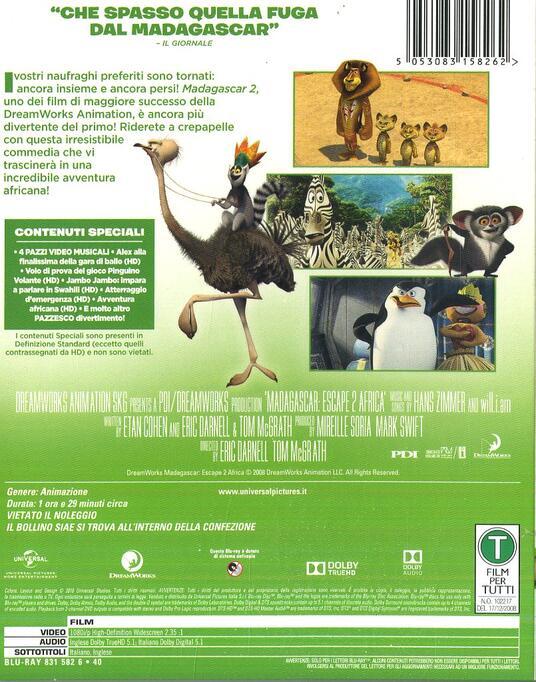 Madagascar 2 (Blu-ray) di Tom McGrath,Eric Darnell - Blu-ray - 2