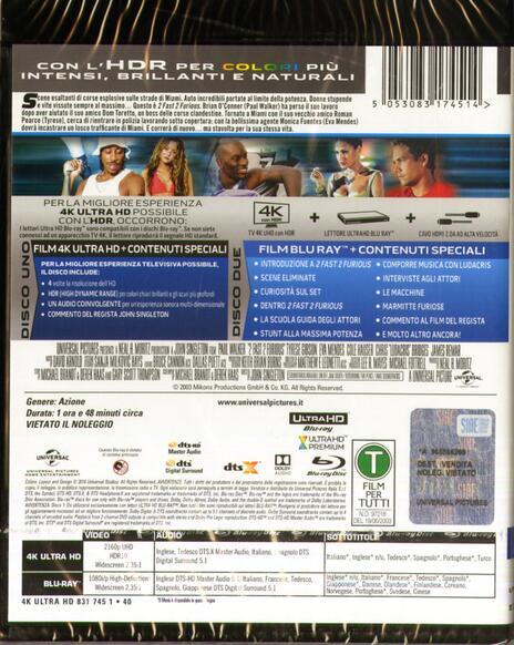 2 Fast 2 Furious (Blu-ray + Blu-ray 4K Ultra HD) di John Singleton - Blu-ray + Blu-ray Ultra HD 4K - 2