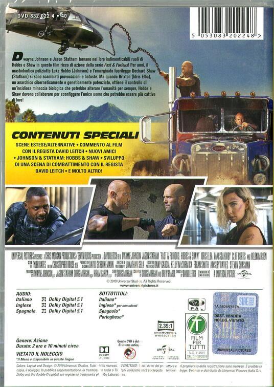 Fast & Furious. Hobbs & Shaw (DVD) di David Leitch - DVD - 2