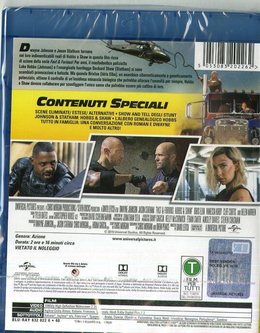 Fast & Furious. Hobbs & Shaw (Blu-ray) di David Leitch - Blu-ray - 2