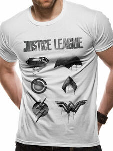 T-Shirt Unisex Tg. 2Xl Justice League Movie. Logo And Symbols
