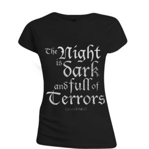 T-Shirt Donna Game Of Thrones. The Night Is Dark Black