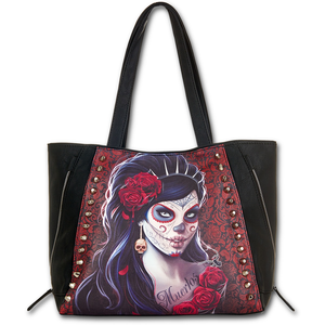 Cartoleria Borsa Spiral. Day Of The Dead Tote Bag. Top Quality Pu Leather Studded Spiral