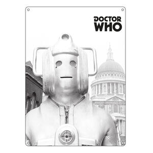 Targa Doctor Who. Greyscale Cyberman in Metallo